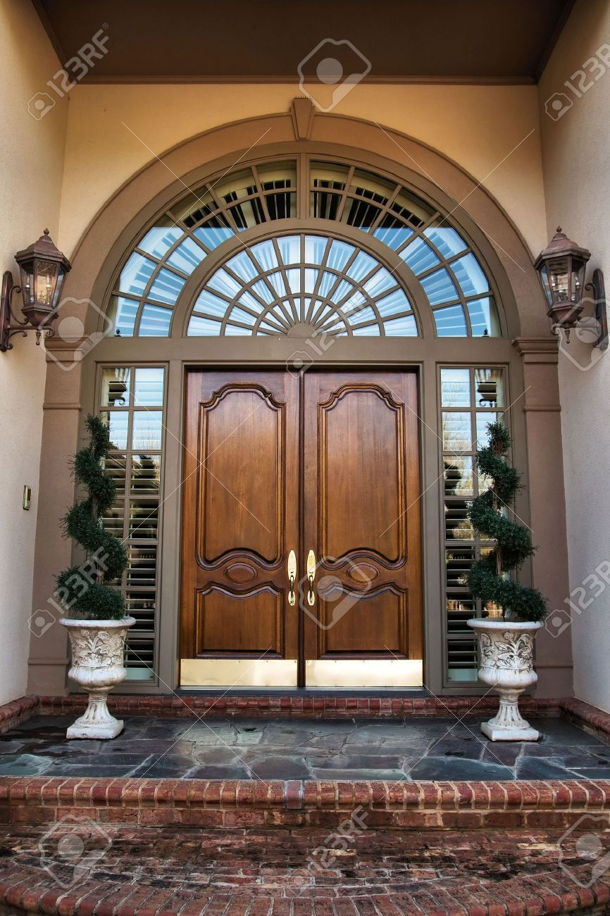 House windows and doors - House Windows Two Wooden Front Double Doors Entrance Stock Photo