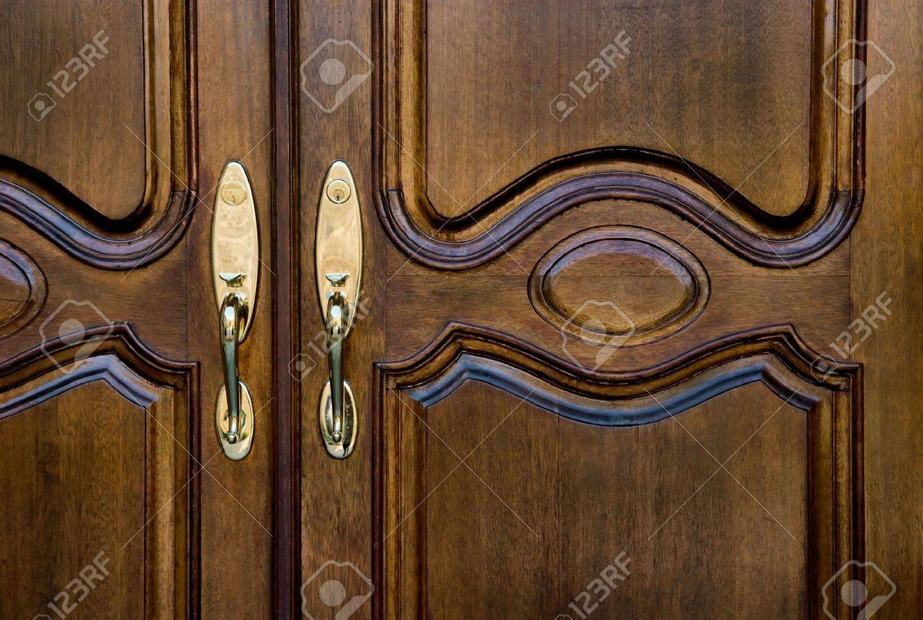 Two Wooden Front Double Doors Entrance Stock Photo Picture And