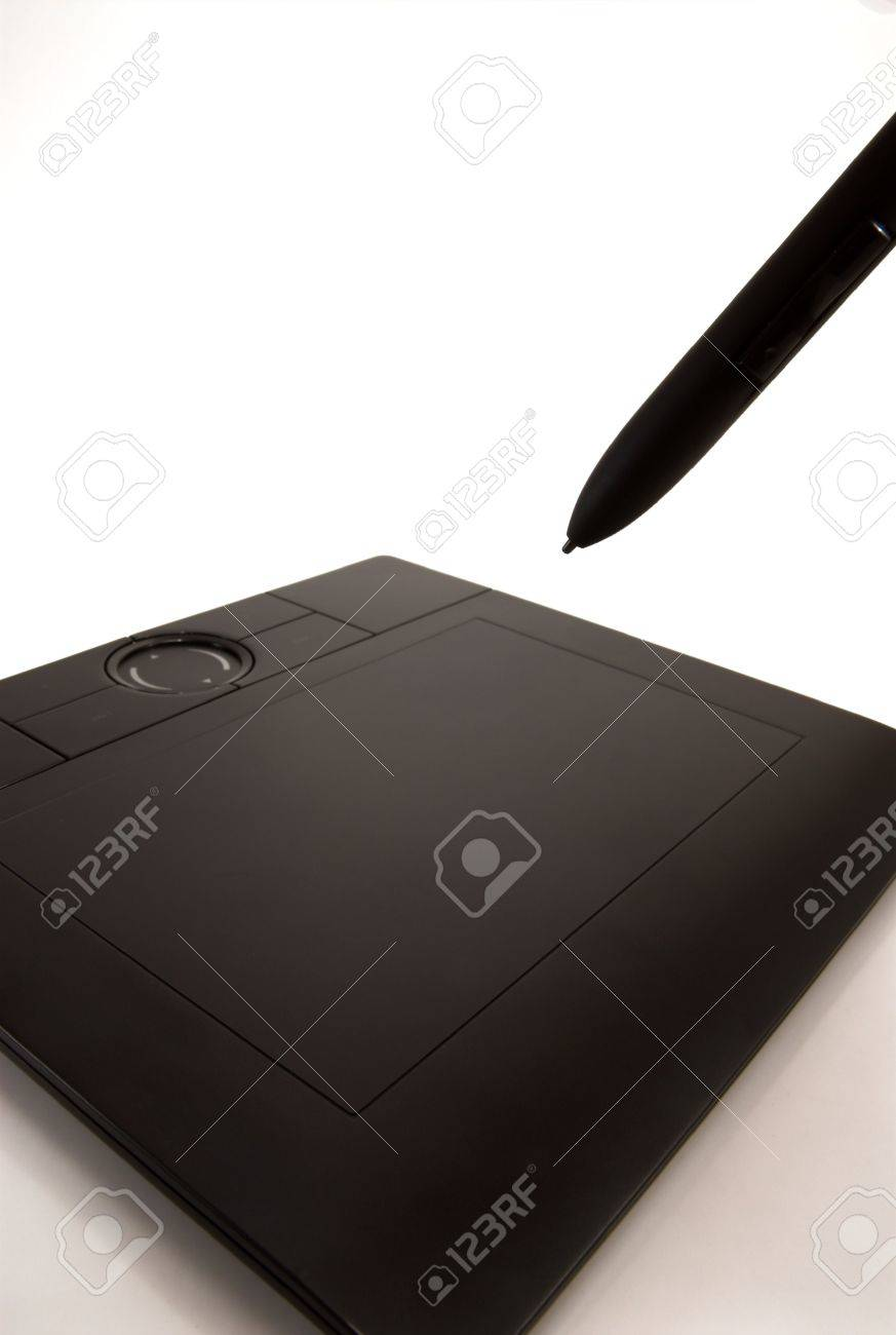 graphic tablet and pen on white background Stock Photo - 2938467