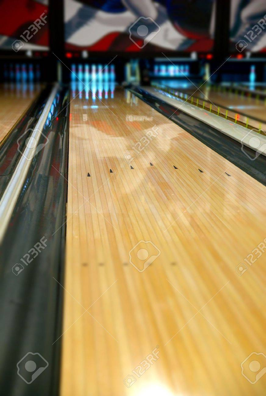 A Bowling Alley Lane With Narrow Depth Of Field Focusing In