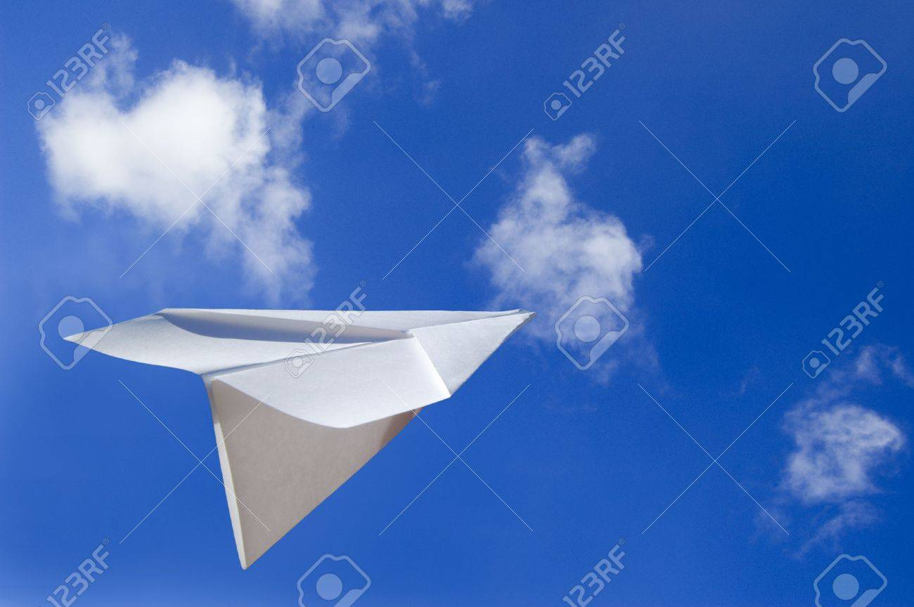 Paper Airplane Flying in the Air Stock Photo - 395092