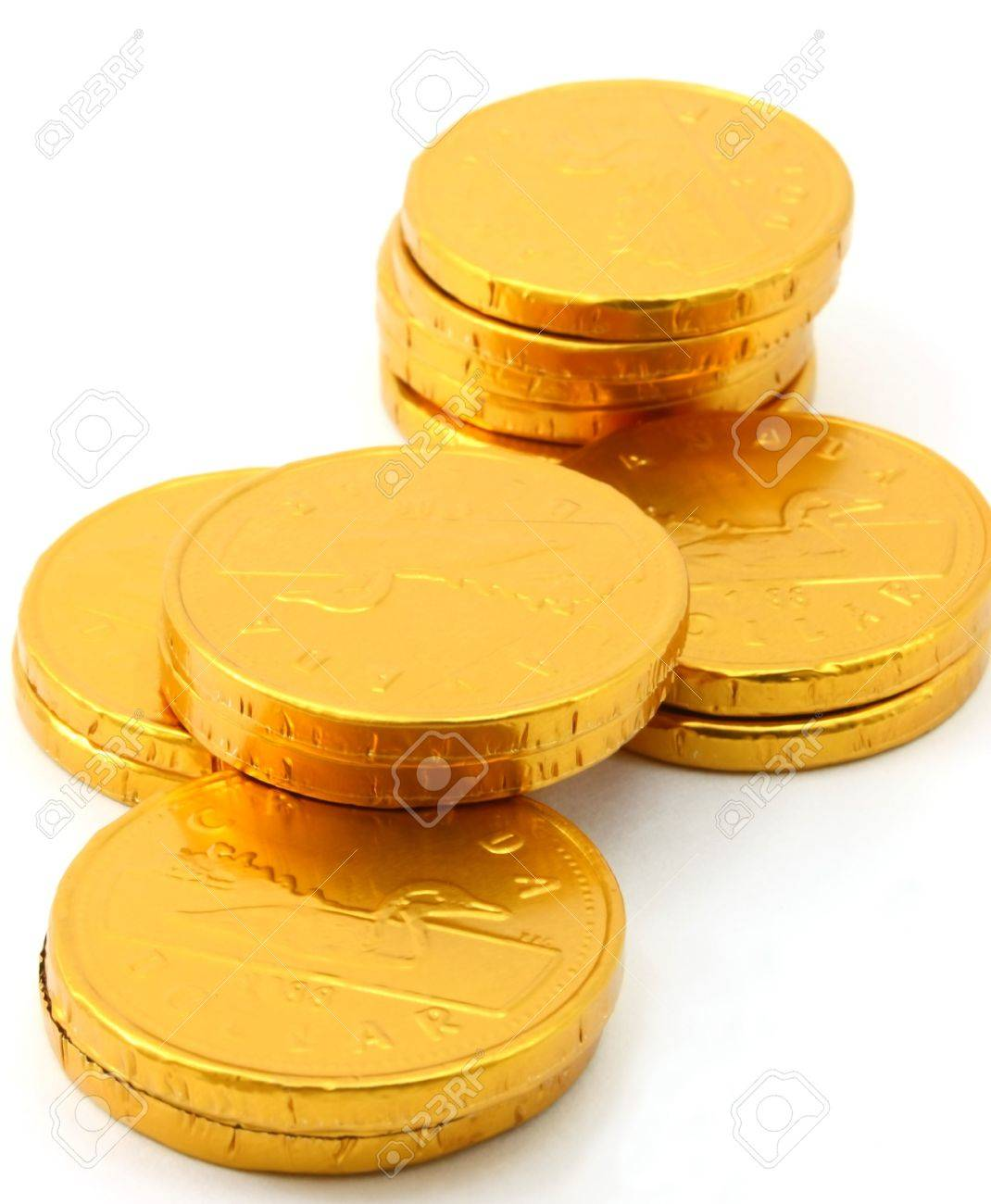 Four Stacks Of Chocolate Gold Coins Stock Photo, Picture And ...