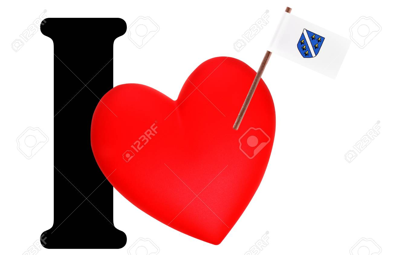 Small flag on a red heart and the word I to express love for the national flag of Bosnia Herzegovina Stock Photo - 13499168