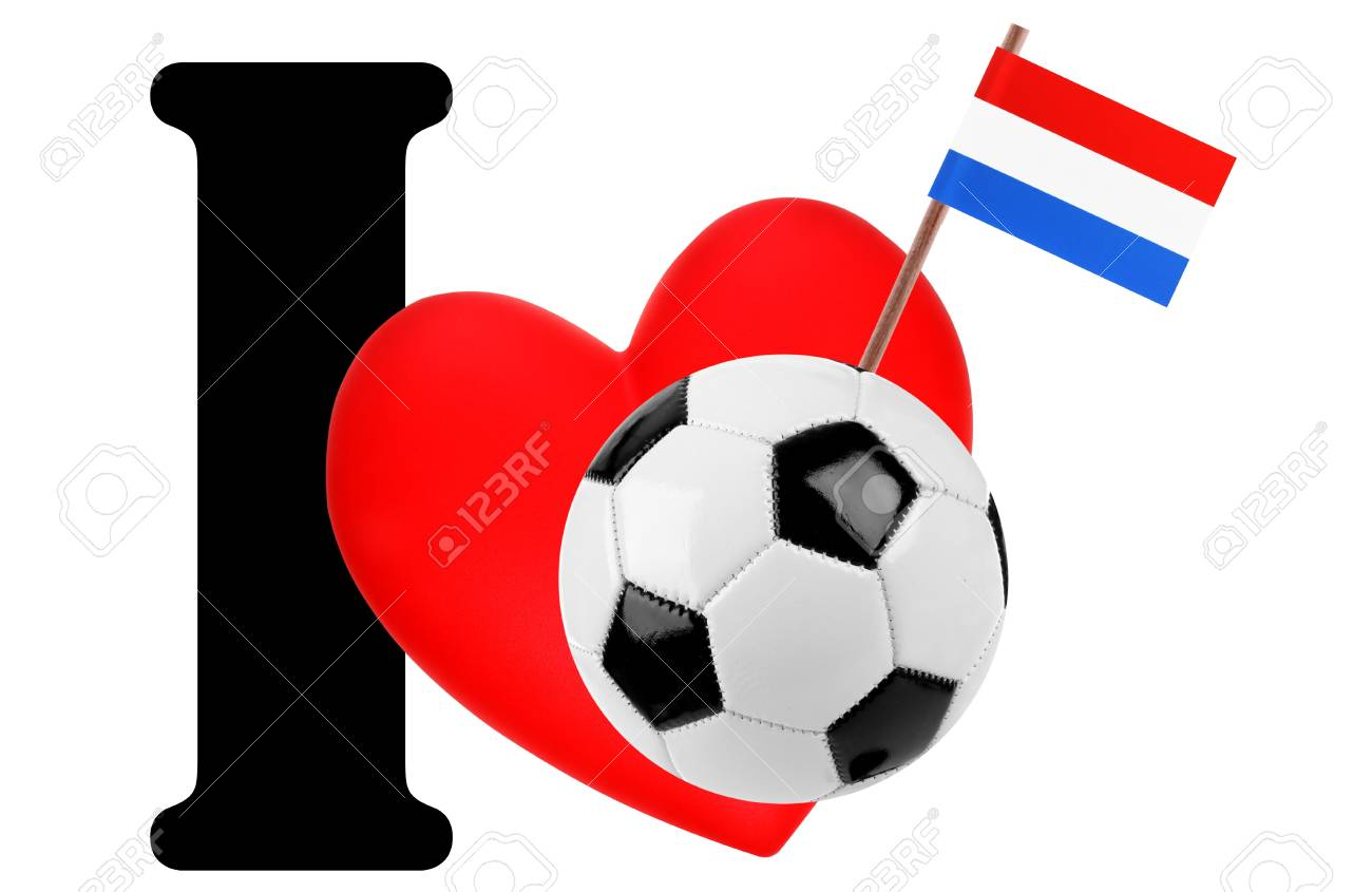 Small flag on a red heart and the word I to express love for the national flag of Netherlands Stock Photo - 13872048