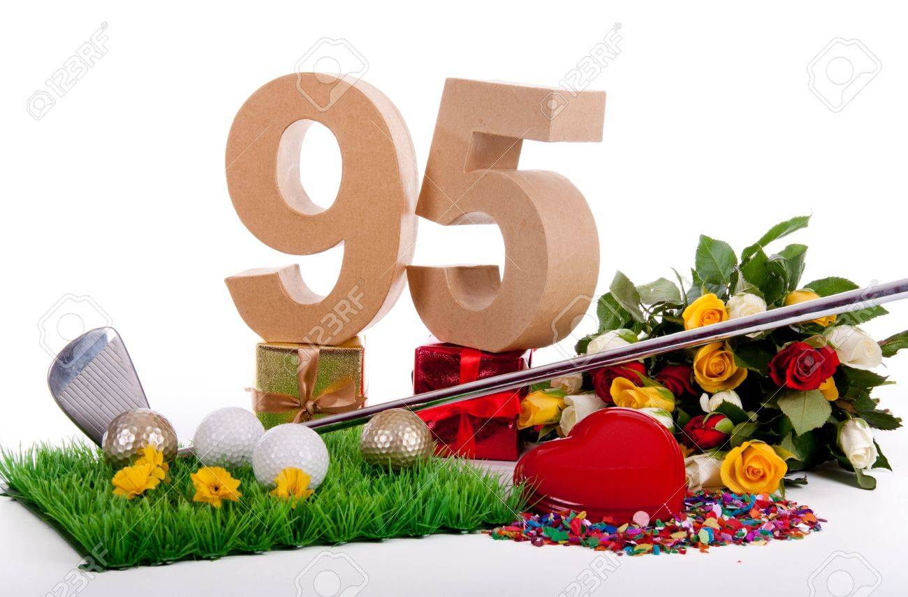 Roses, a golf club and golf balls on an artificial peace of grass to be used as a birthday card Stock Photo - 18744646