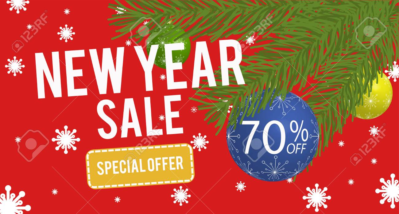 happy new year sale banner with 70 percent discount vector illustration stock vector 67811247