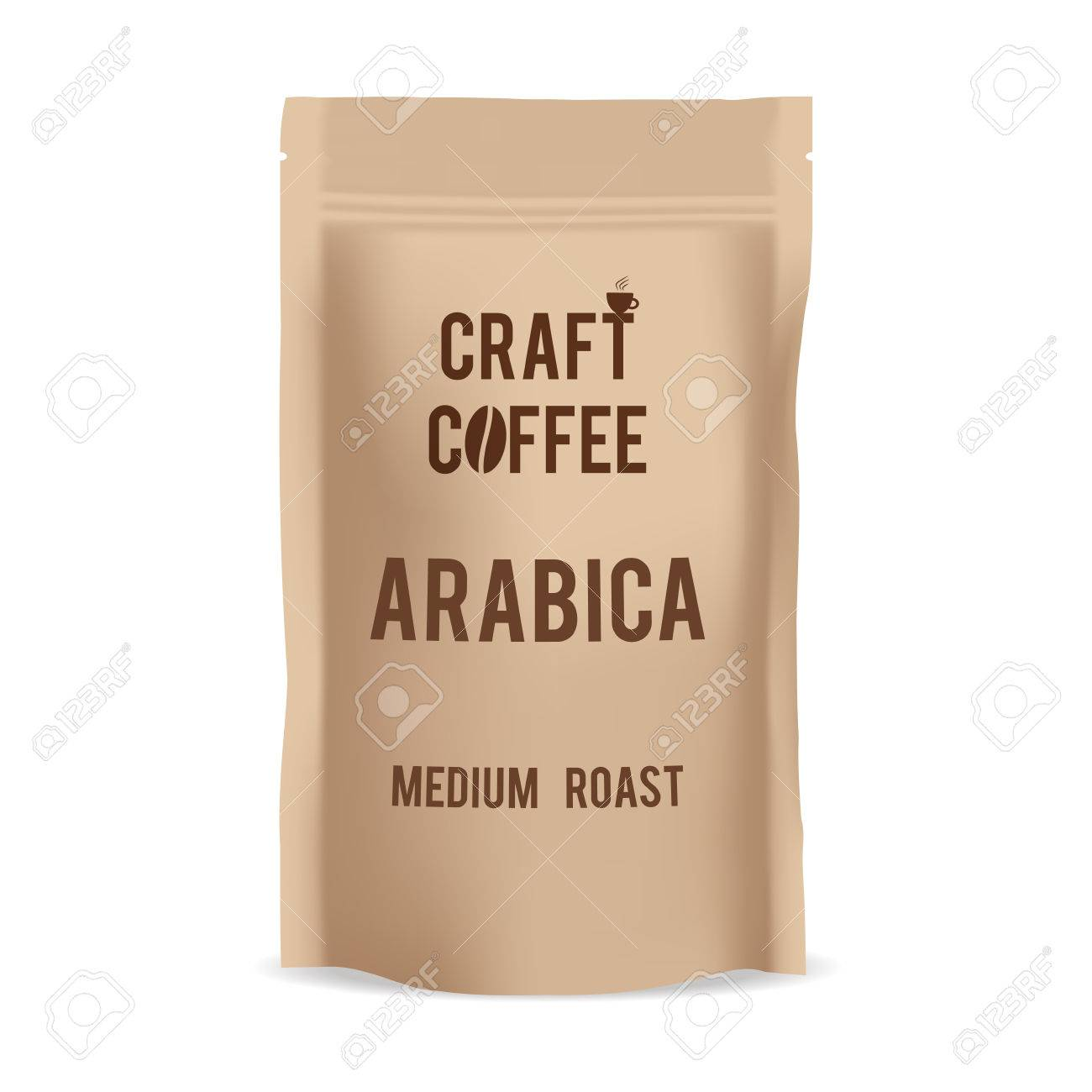 Brown paper food bag package of craft coffee realistic vector brown paper food bag package of craft coffee realistic vector mockup template vector packaging jeuxipadfo Gallery