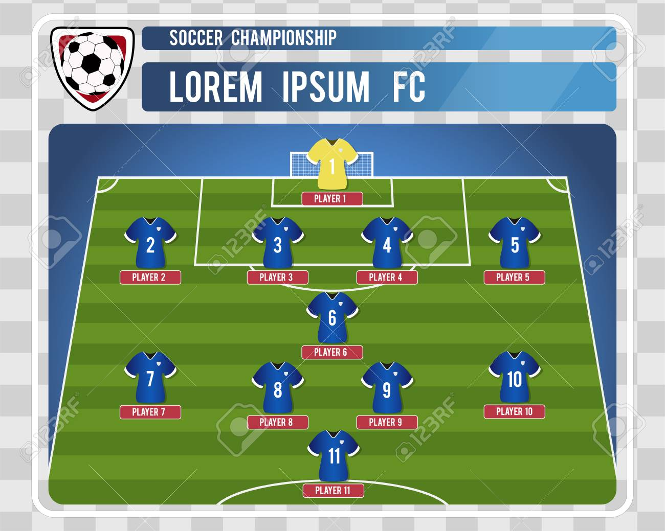 Football Or Soccer Starting Lineup With Editable Arrangement Of Players Vector Illustration Stock
