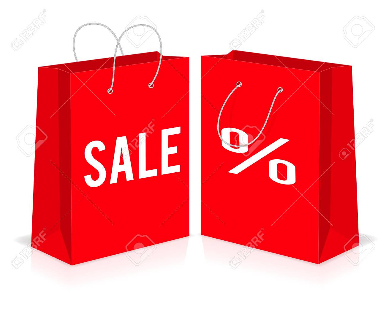 dae94af06007 Red shopping paper empty bags with percent and sale signs. Vector  illustration. Stock Vector