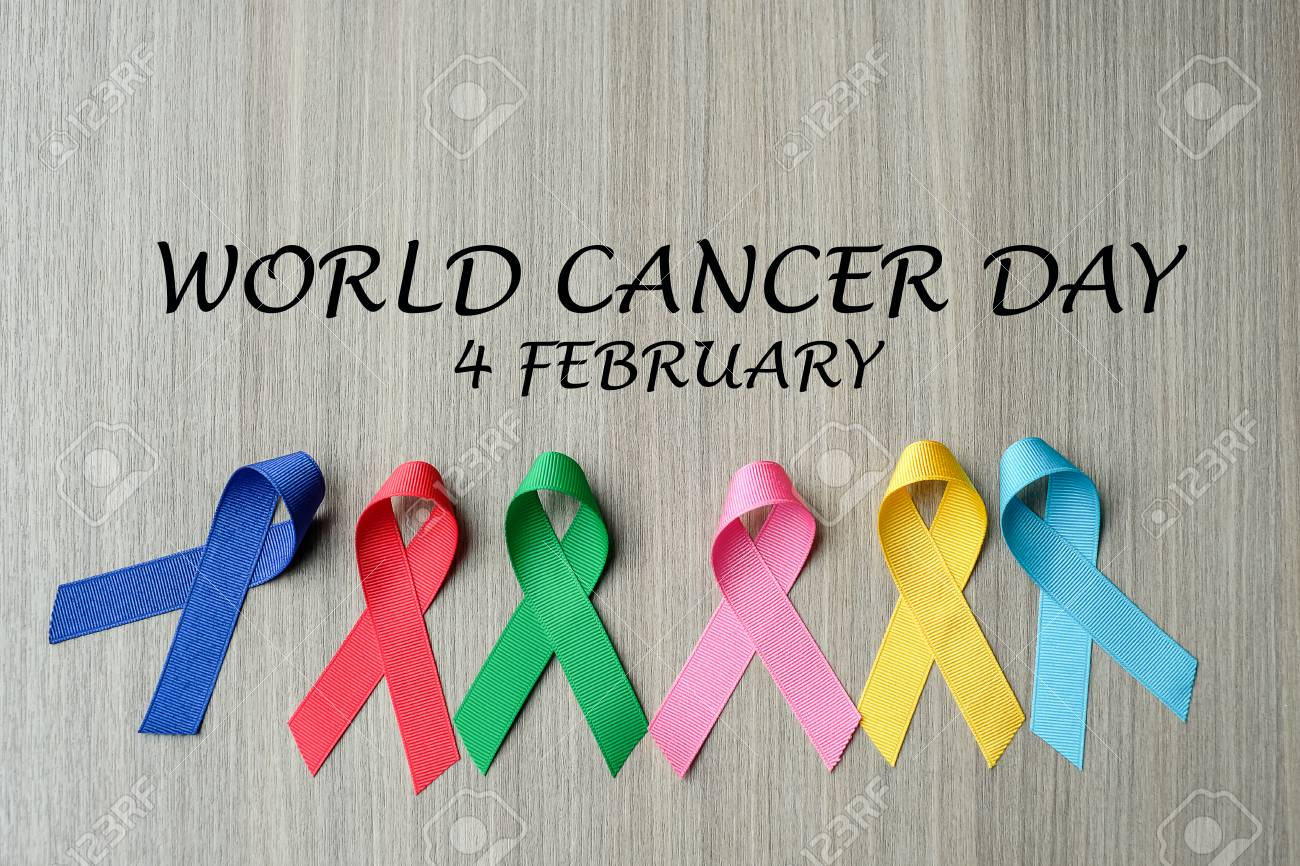 World cancer day (February 4)  colorful awareness ribbons