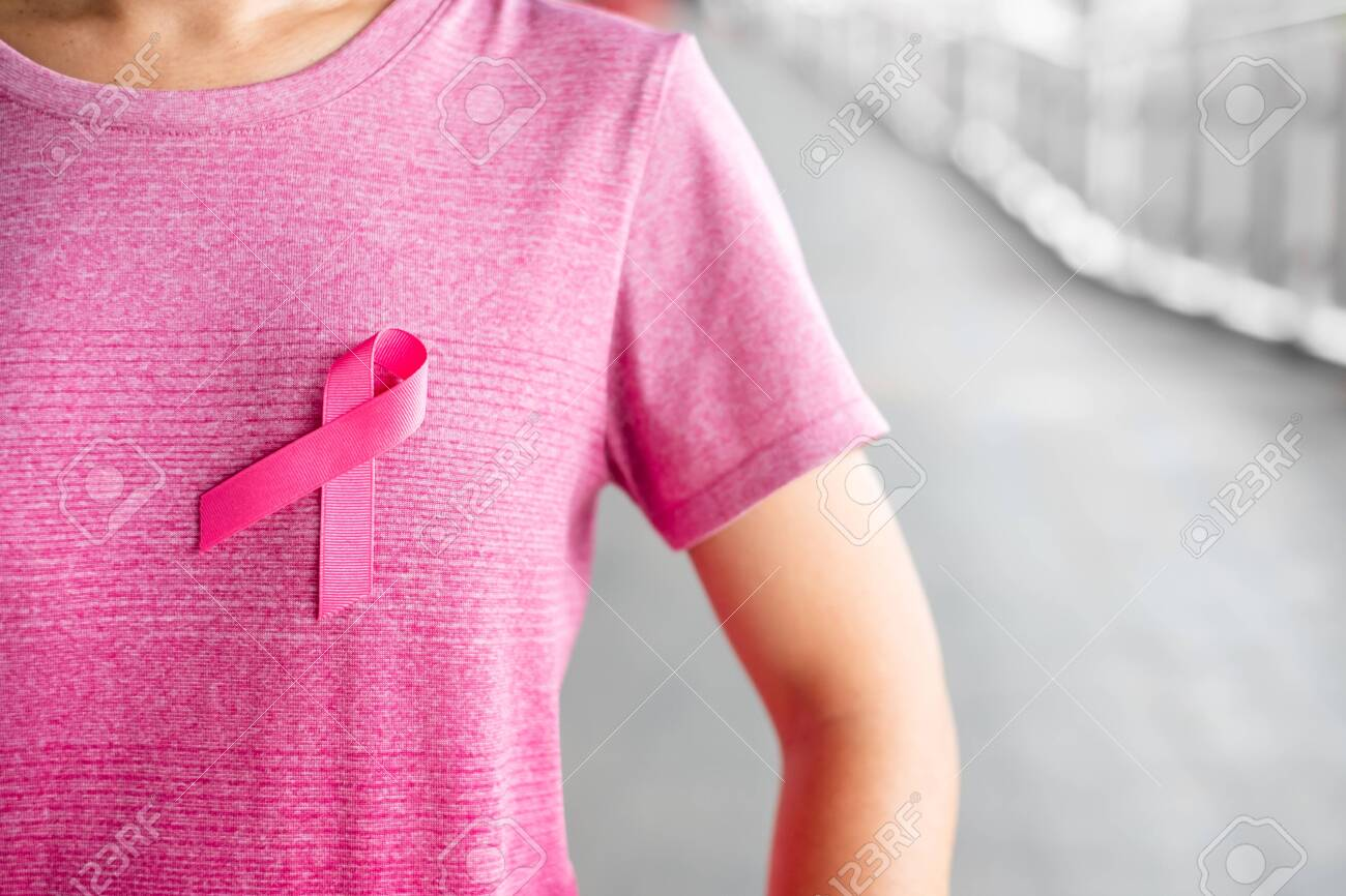 Ladies T shirt Womens Breast Cancer Awareness Pink Ribbon Charity Here To Fight
