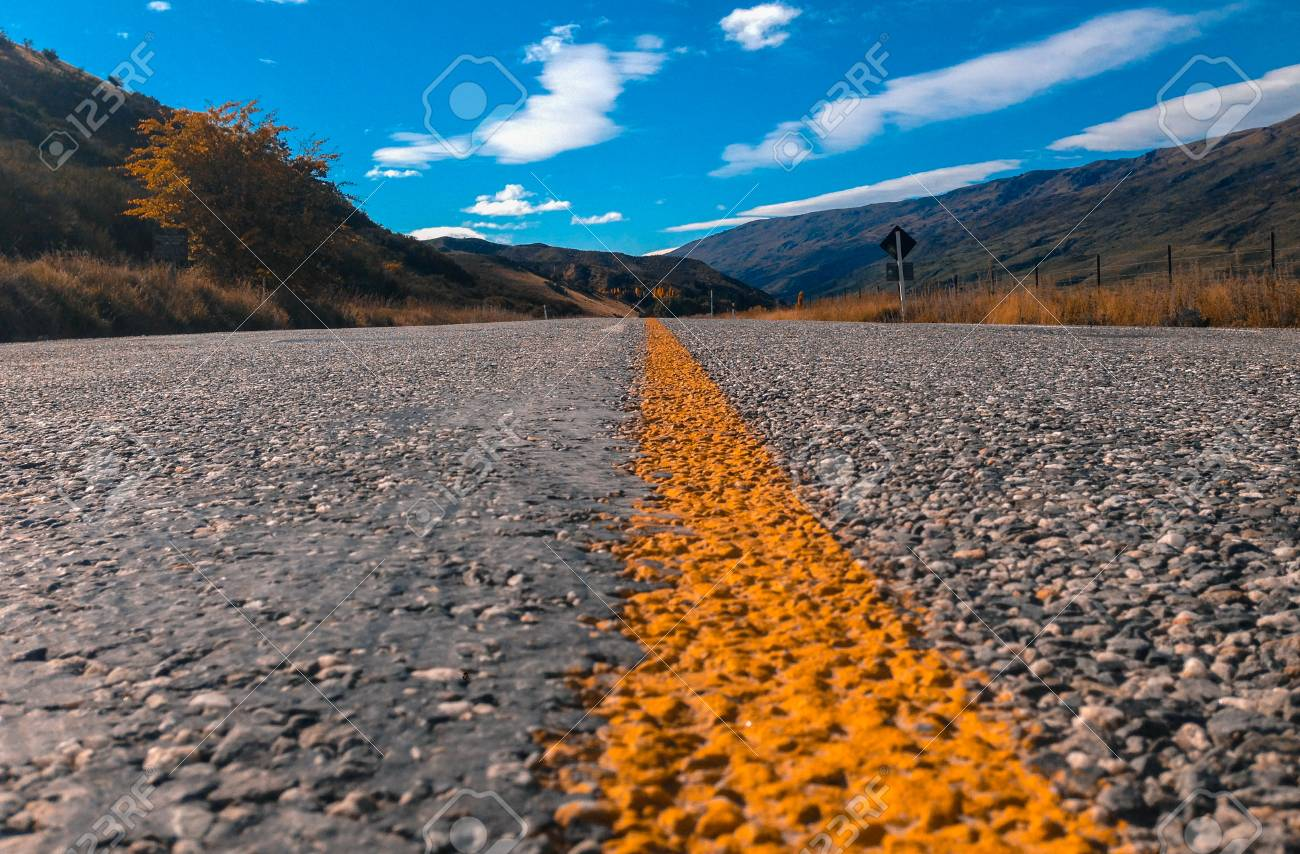 Empty Road And Scenic Landscape In New Zealand Low Angle View Stock Photo Picture And Royalty Free Image Image 112816842