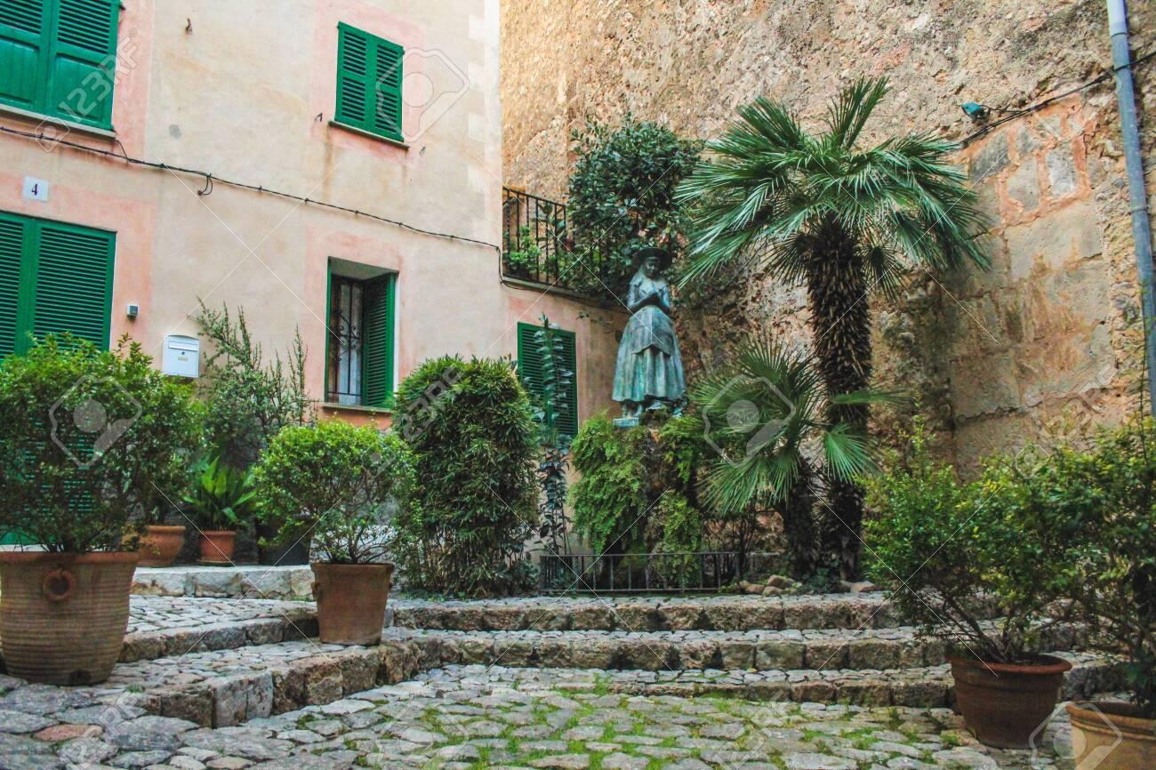 empty street with cobble stones in Valldemossa, Mallorca, Spain - 143025644
