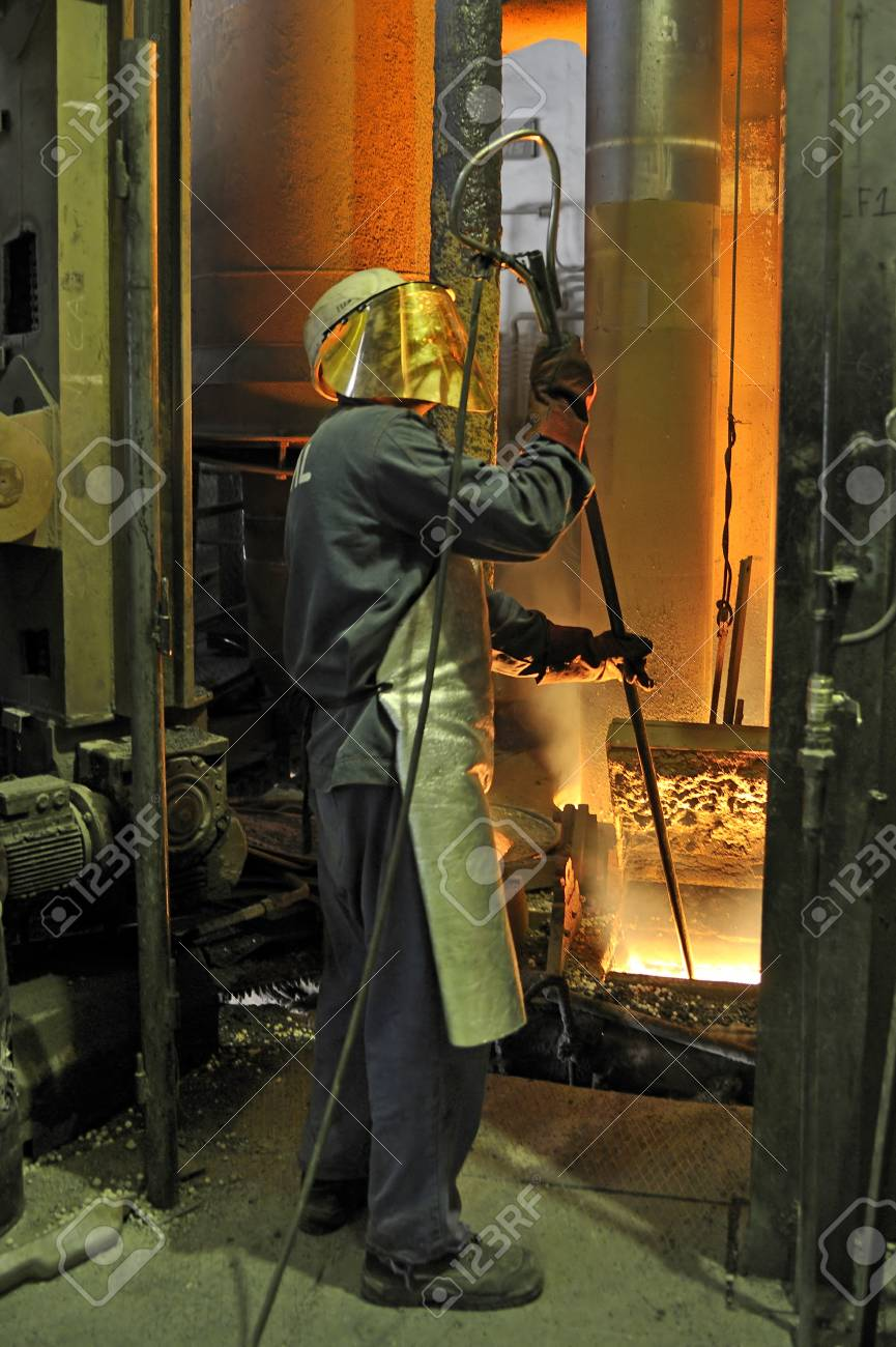 worker with hot steel Stock Photo - 20778134