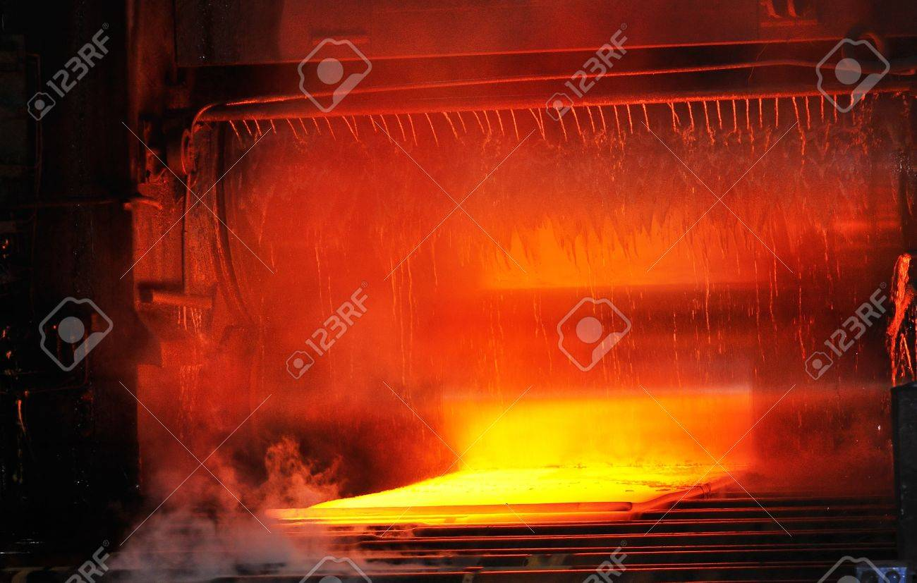 hot steel on conveyor Stock Photo - 16475643
