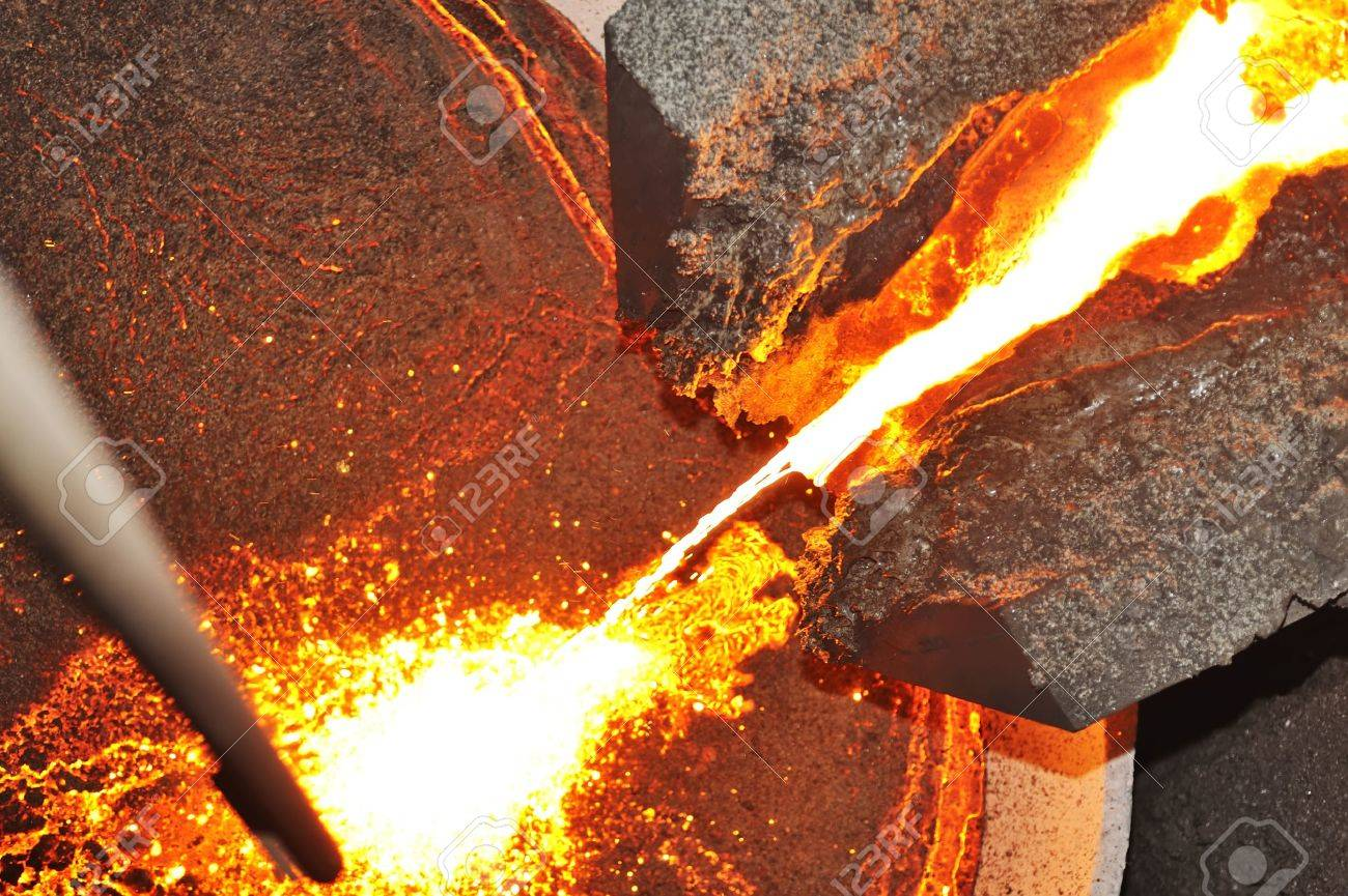 pouring molten steel in transportation device Stock Photo - 16480214