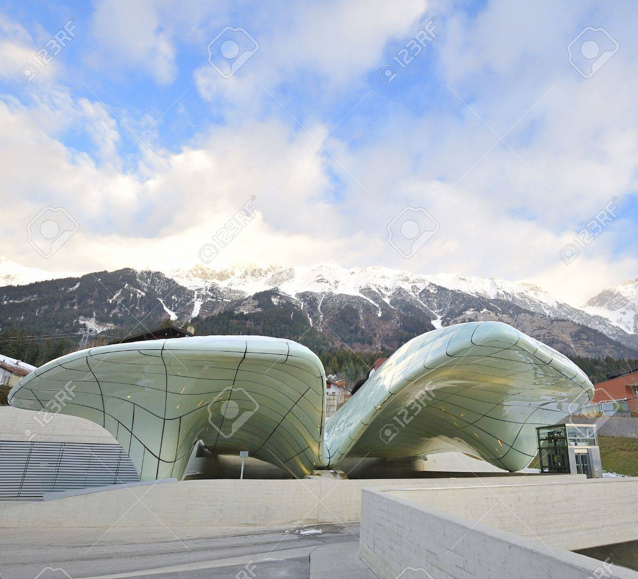 NORDKETTENBAHN INNSBBUCK AUSTRIA -JANUARY 17 Funicular in Nordkettenbahnen will now transport visitors  from the city center of Innsbruck to high mountain terrain   january17,2010 Innsbruck Austria  Stock Photo - 20765849