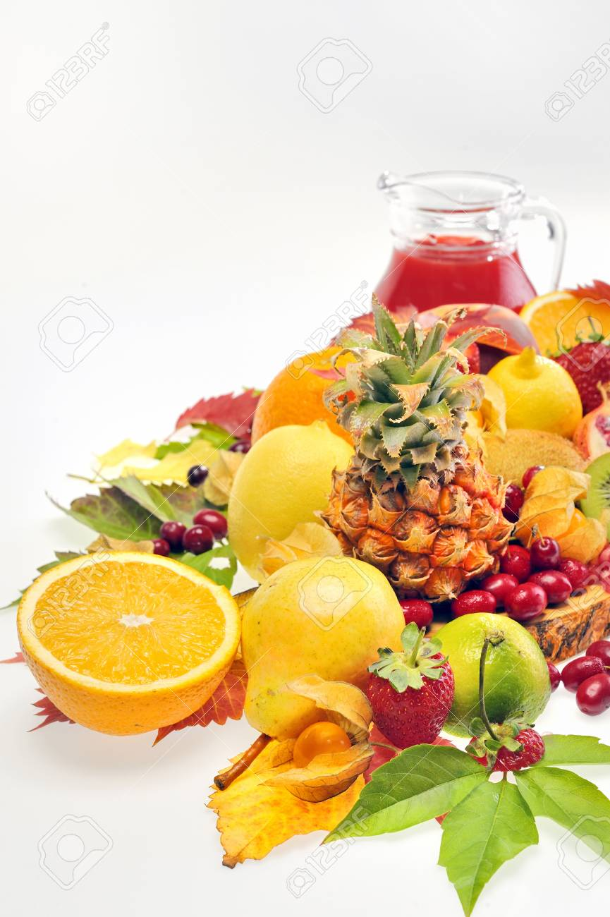 various fruits and juice Stock Photo - 16478484