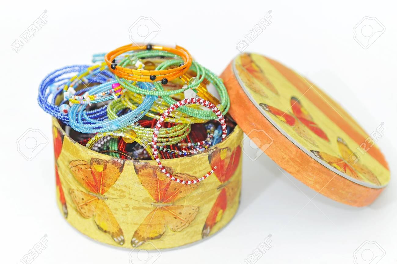 many colorful fashion bracelets in box Stock Photo - 16476146