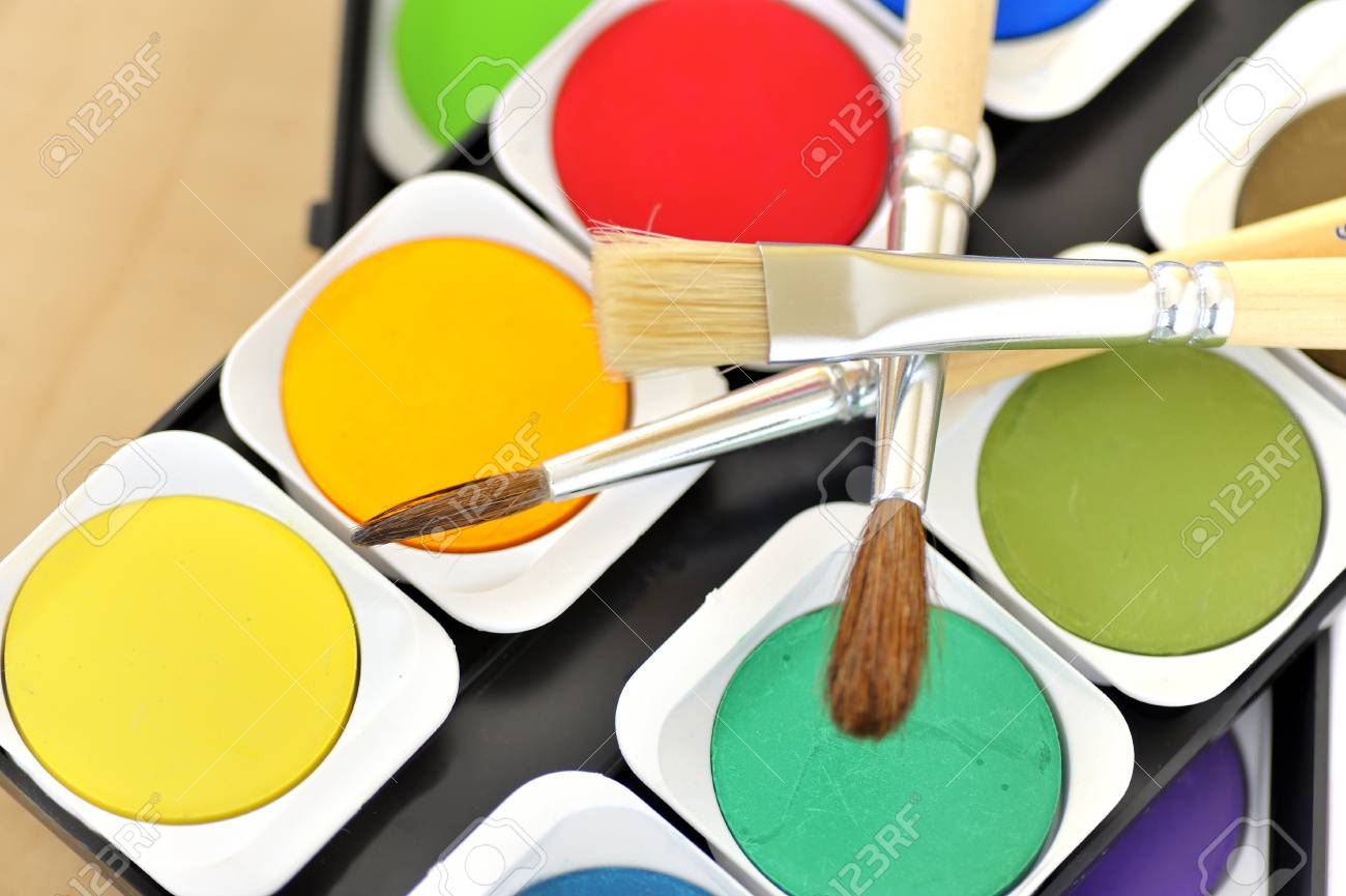 water paints set and brushes Stock Photo - 16533224