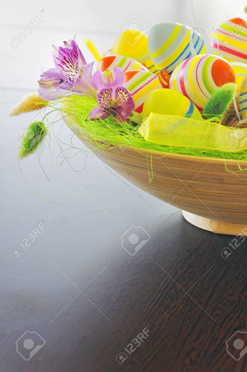 basket with easter eggs Stock Photo - 16567572
