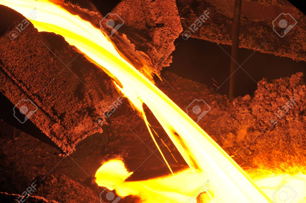Pouring of liquid metal in open hearth workshop Stock Photo - 19986153