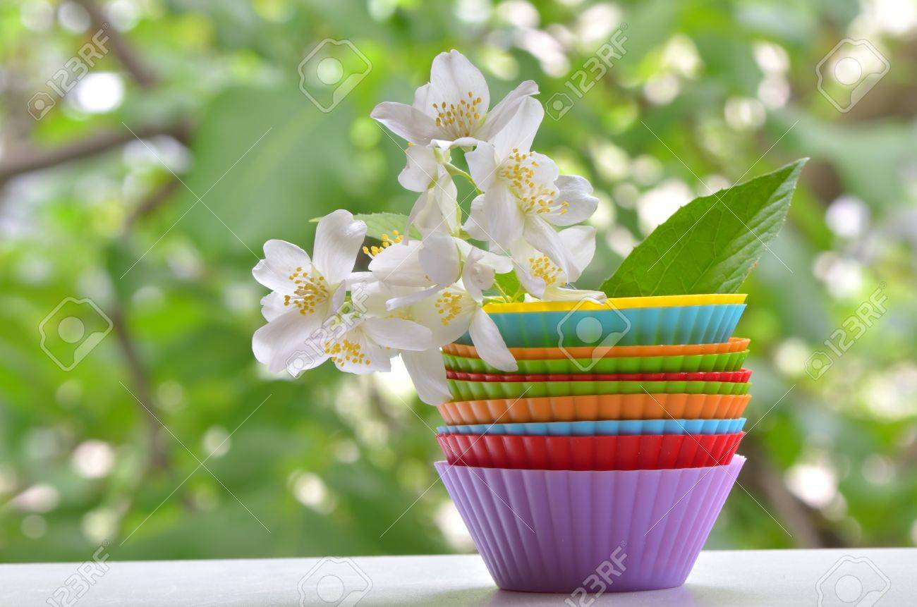 Types of muffins with jasmine flower shoot on natural background stock photo types of muffins with jasmine flower shoot on natural background izmirmasajfo
