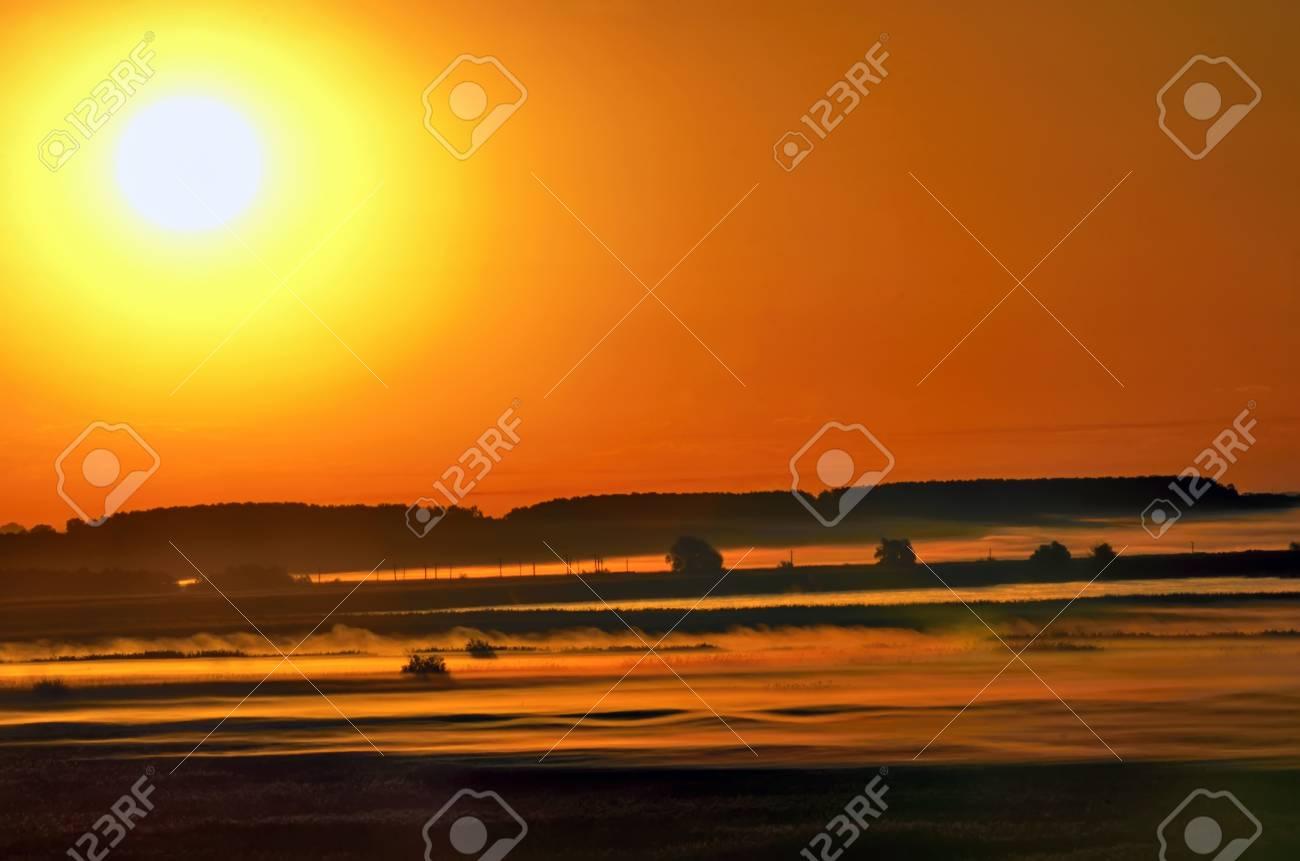 landscape, fog at sunrise Stock Photo - 20763902