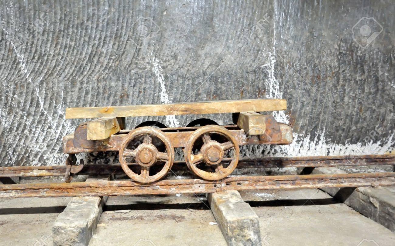 old  wagon inside of salt mine on rail Stock Photo - 21452095