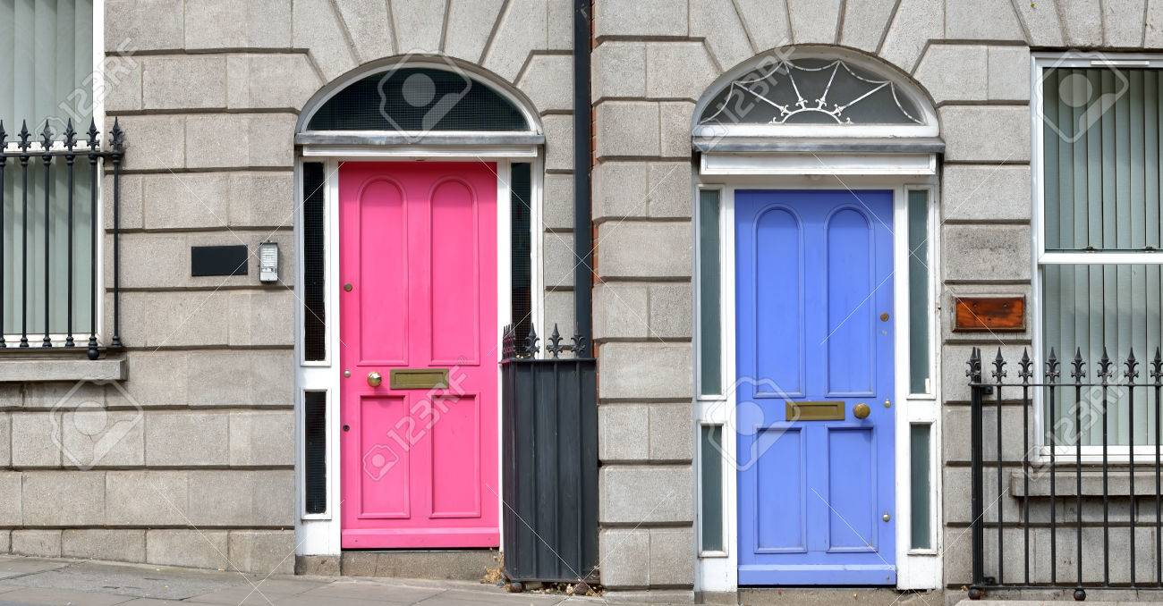 Stock Photo - Typical pink and blue Georgian doors. Dublin Ireland & Typical Pink And Blue Georgian Doors. Dublin Ireland Stock Photo ...