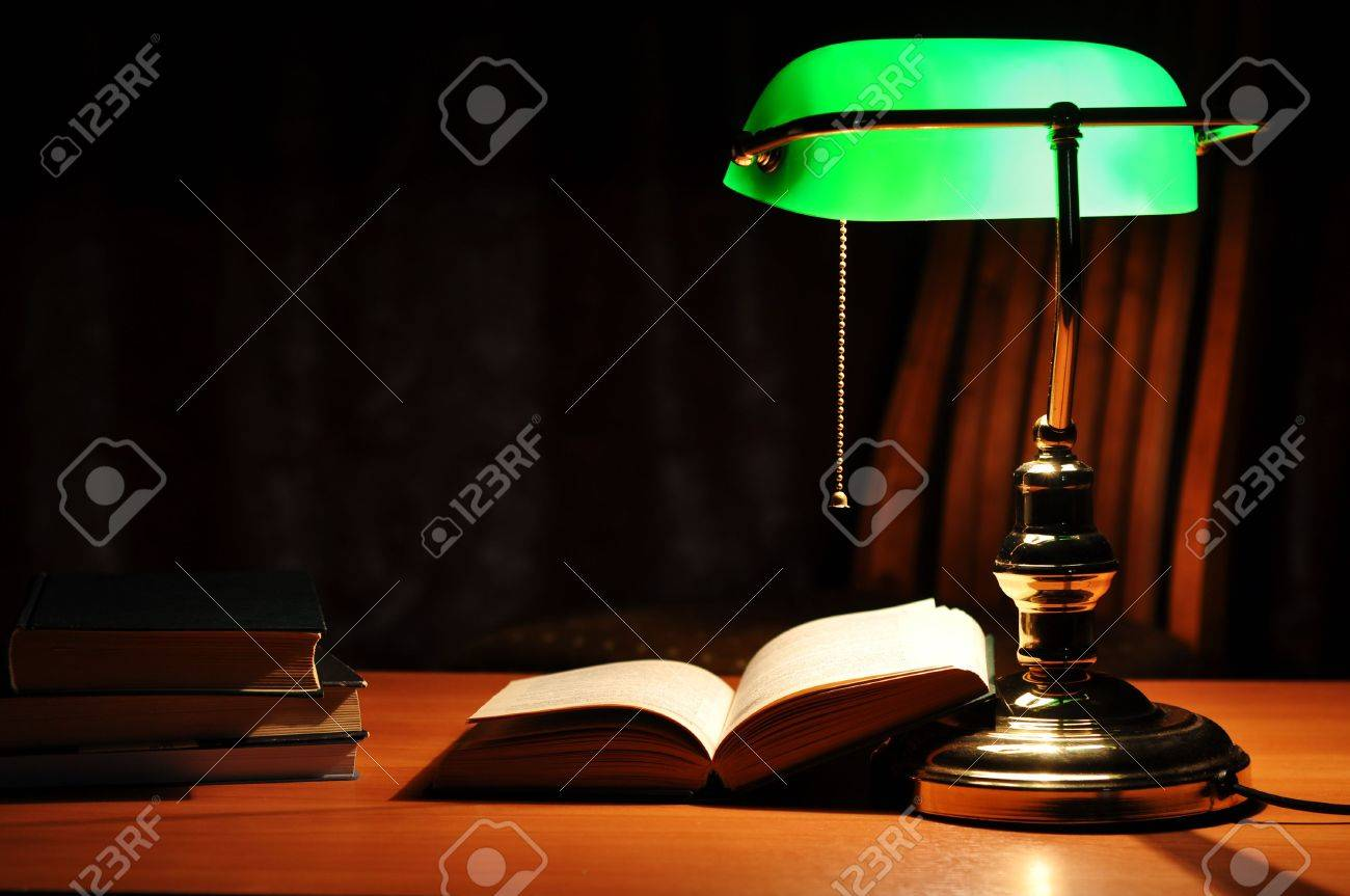 Electric Green Table Lamp And Opened Book Stock Photo   6253498