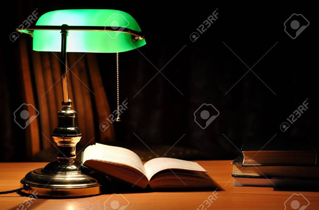 Electric Green Table Lamp And Opened Book Stock Photo   6370048