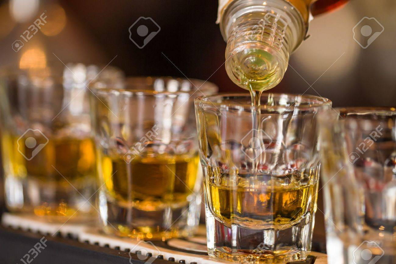 19158879 Photo Makes Free Row Royalty Nightclub Barman In Shots Alcoholic Stock Image Shot Whisky Drinks And Picture Image