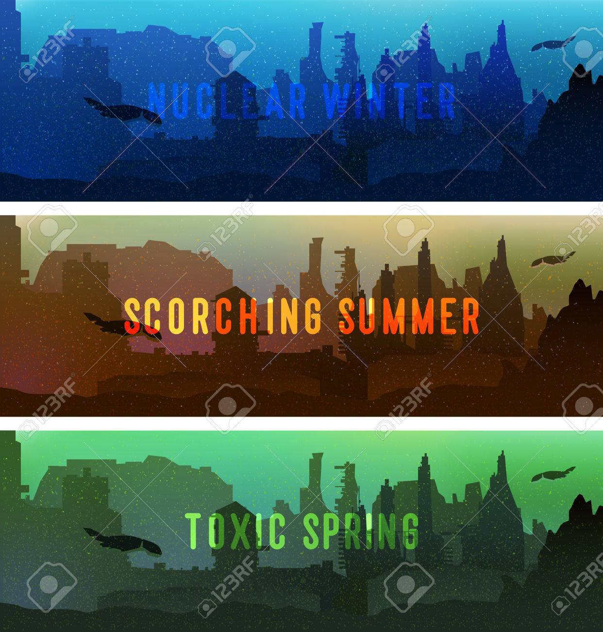 a set of cartoon backdrop banners of illustration of a post