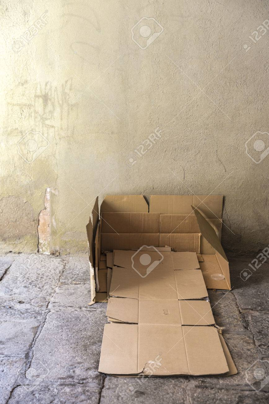 Strange Bed Made Of Cartons Of A Homeless Man On A Street Covered With Complete Home Design Collection Barbaintelli Responsecom