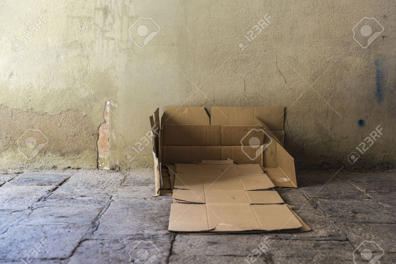Outstanding Bed Made Of Cartons Of A Homeless Man On A Street Covered With Complete Home Design Collection Barbaintelli Responsecom