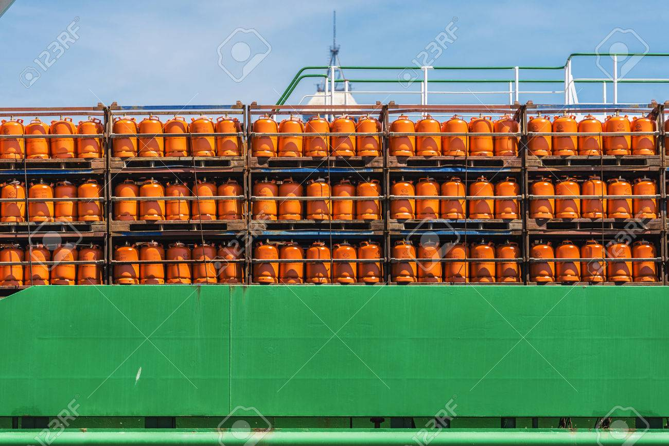 Barcelona, Spain - May 2, 2015: Butane cylinders Repsol brand stored in a boat in the port of Barcelona - 52322177