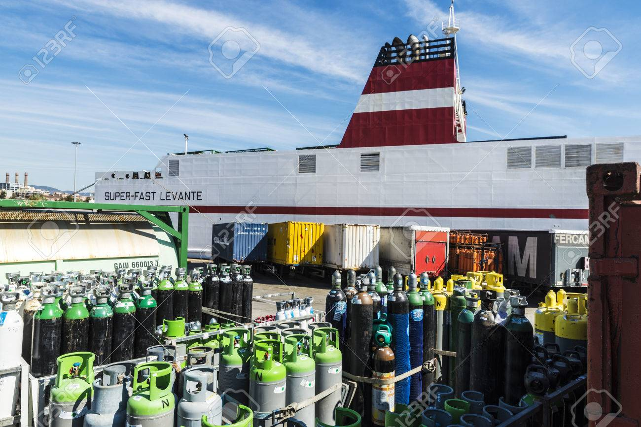 Barcelona, Spain - April 19, 2016: Propane cylinders and containers ready for transport in the port of Barcelona, Catalonia, Spain - 56982861