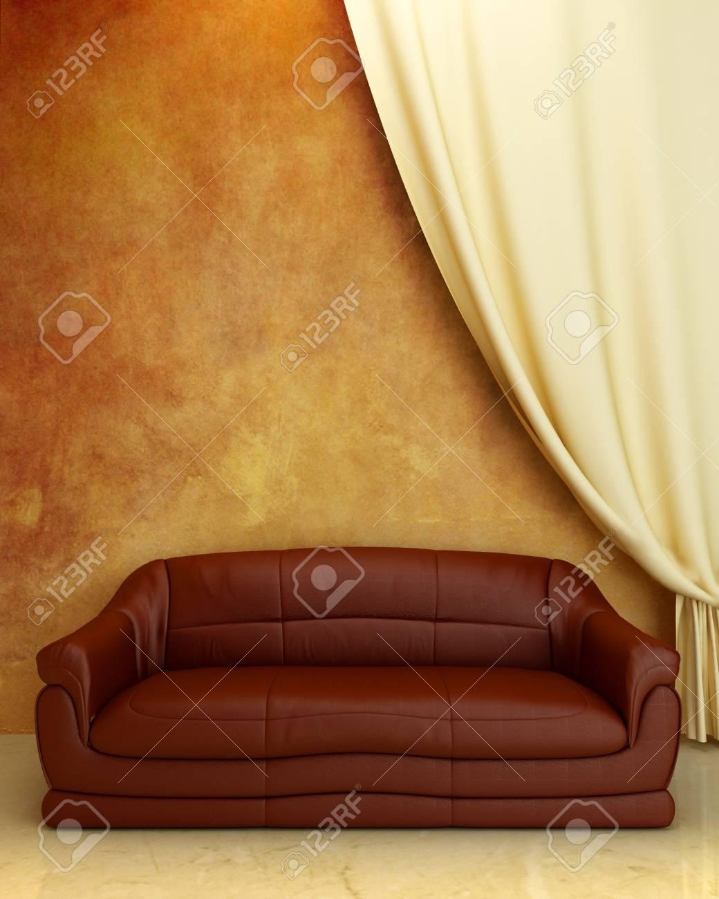 Comfortabele Leren Bank.Interior Comfortabele Lederen Bankstel En Gordijn Op Geruineerd Muur