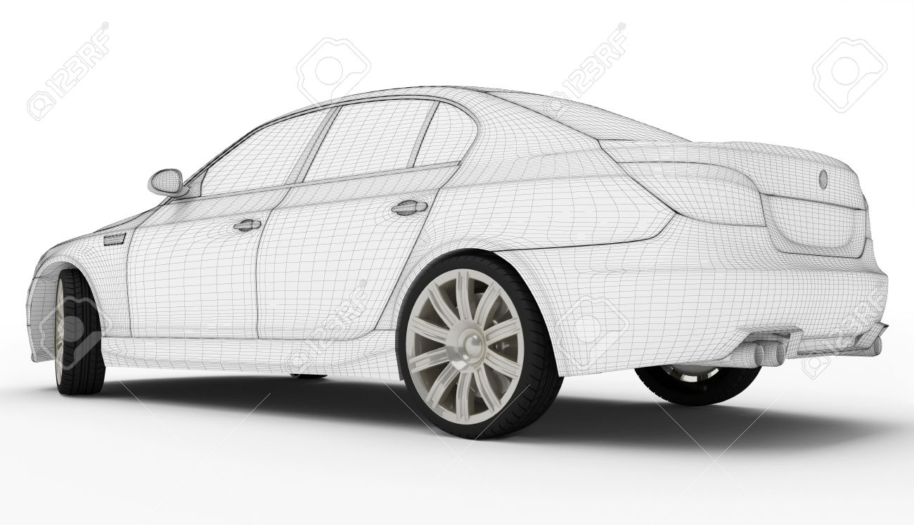 Wireframe Car Isolated White - Computer Graphics Generated Stock ...