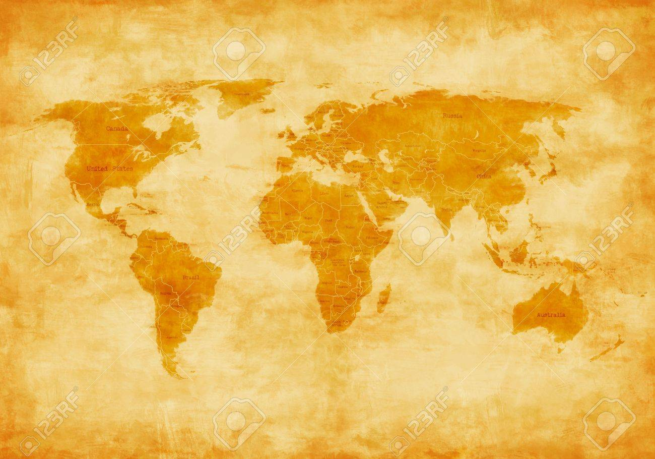 World Map Old Style.Old Style World Map Painted And Ruined From The Time Stock Photo