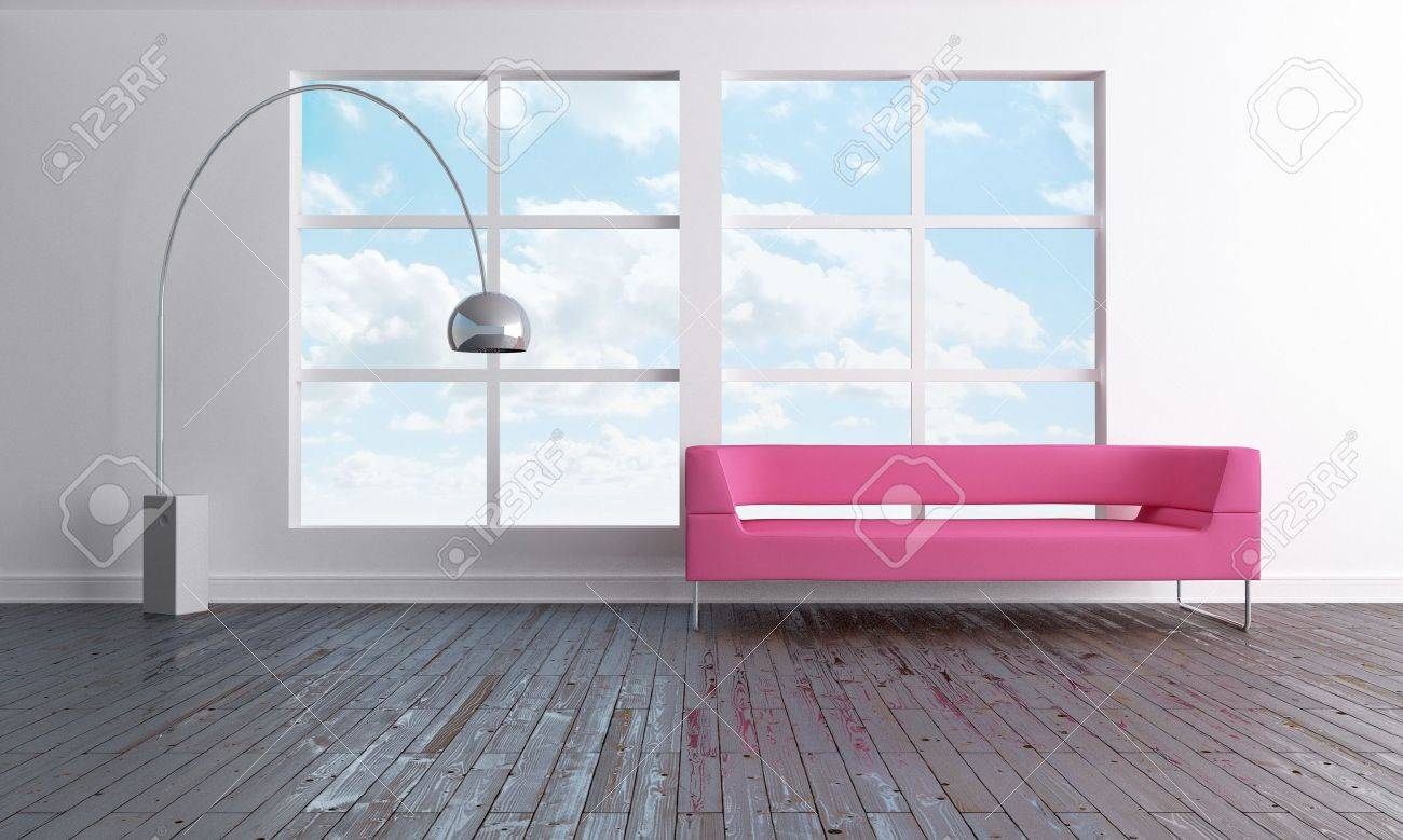 Luminous and minimal open space with pink sofa Stock Photo - 6869792
