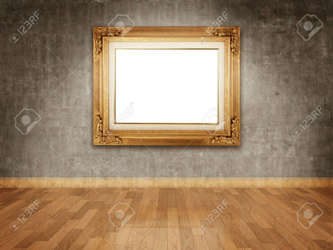 4a8e7448670 Empty golden frame on dark concrete wall Stock Photo - 7358804