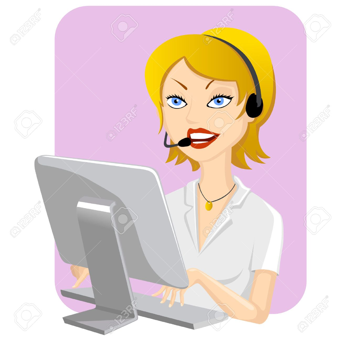 Illustration of smiling girl to the call center Stock Vector - 8956338