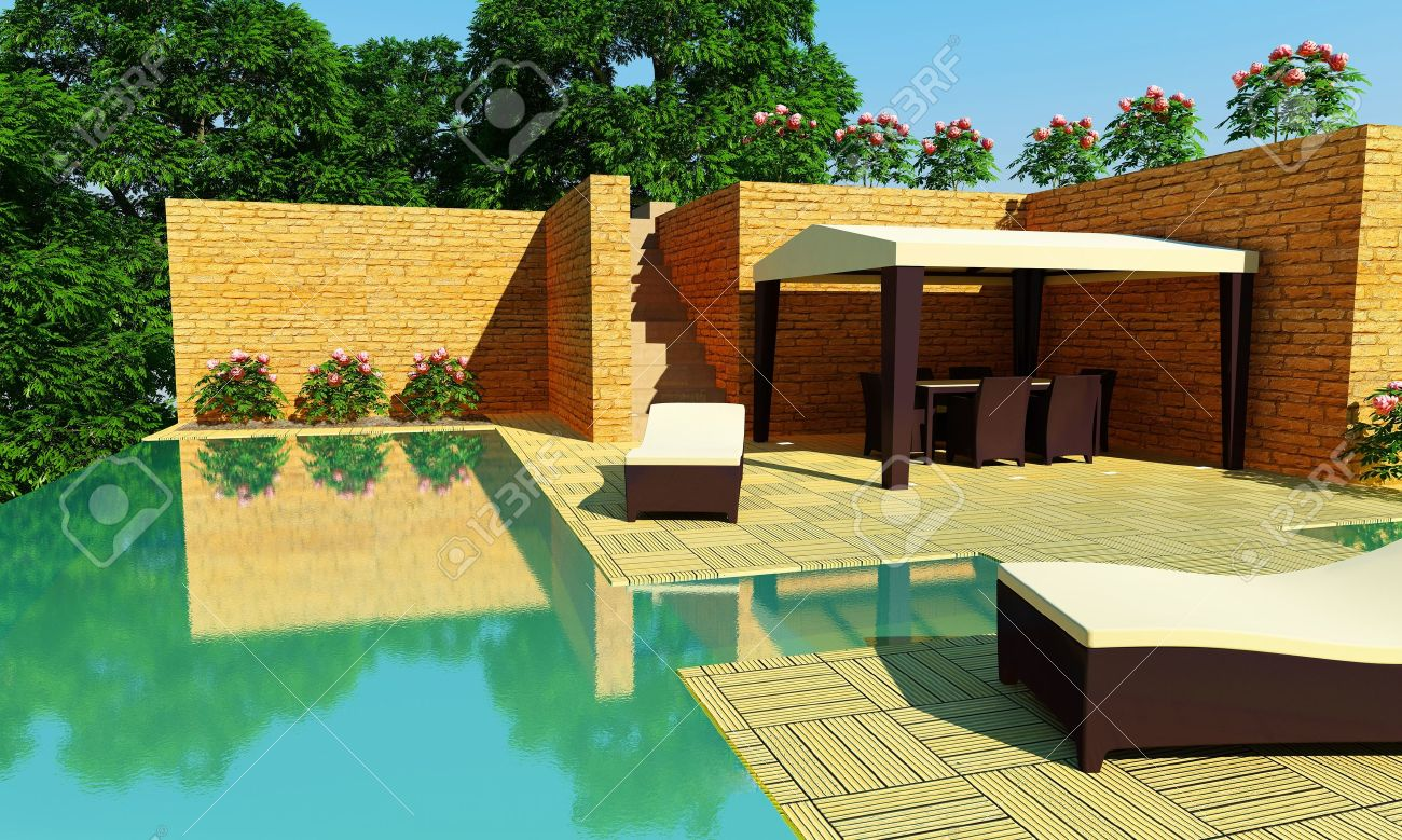 outdoor luxury villa with infinity pool and gazebo for relax