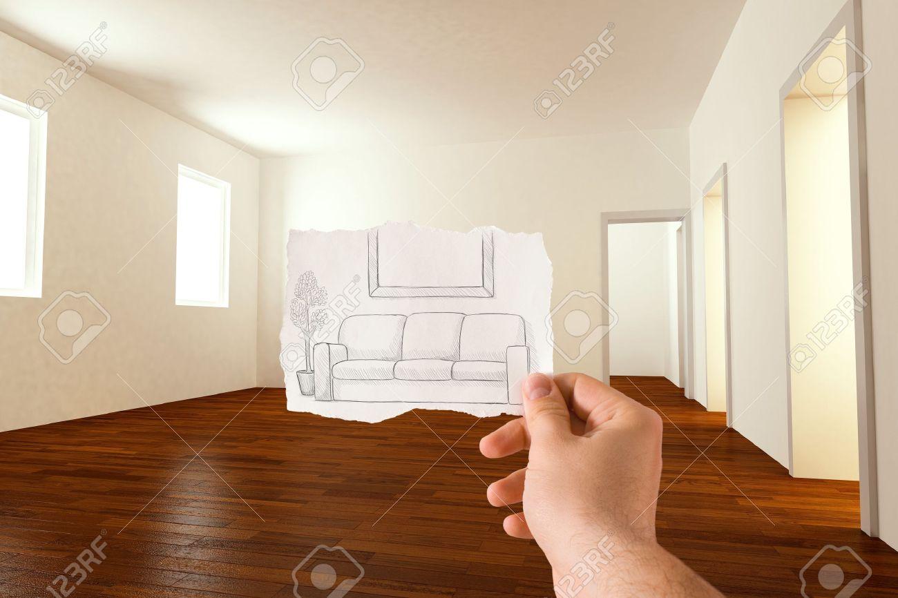 Sketch Idee Für Die Einrichtung Des Wohnzimmer Standard Bild   9516844