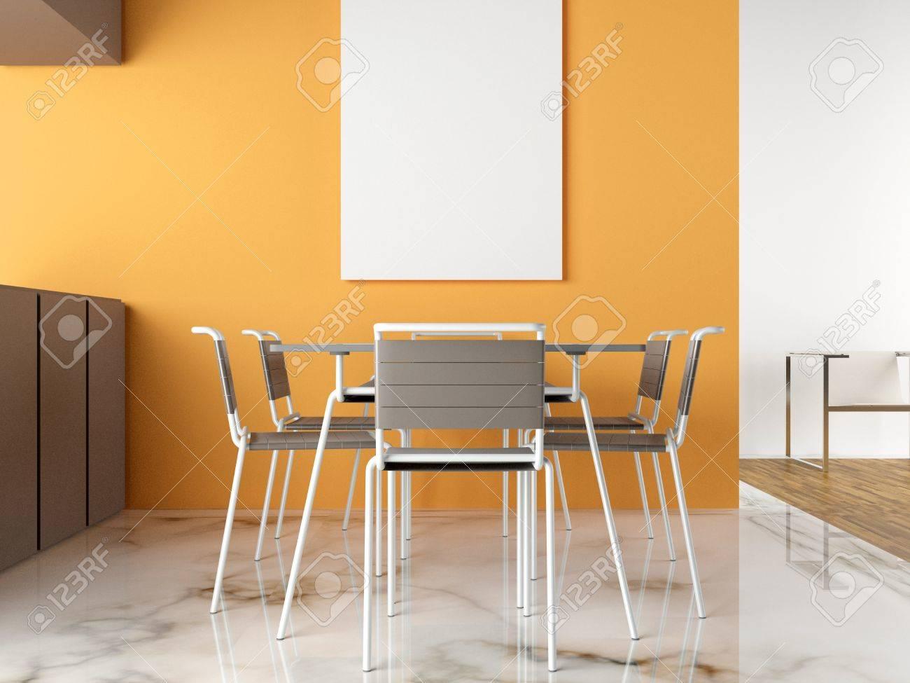 Cuisine moderne et lumineuse 3d avec plancher de marbre banque d ...