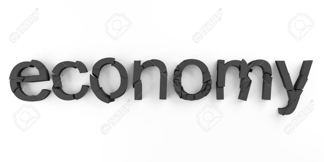 Word economy broken for economic crisis symbols Stock Photo - 12639460