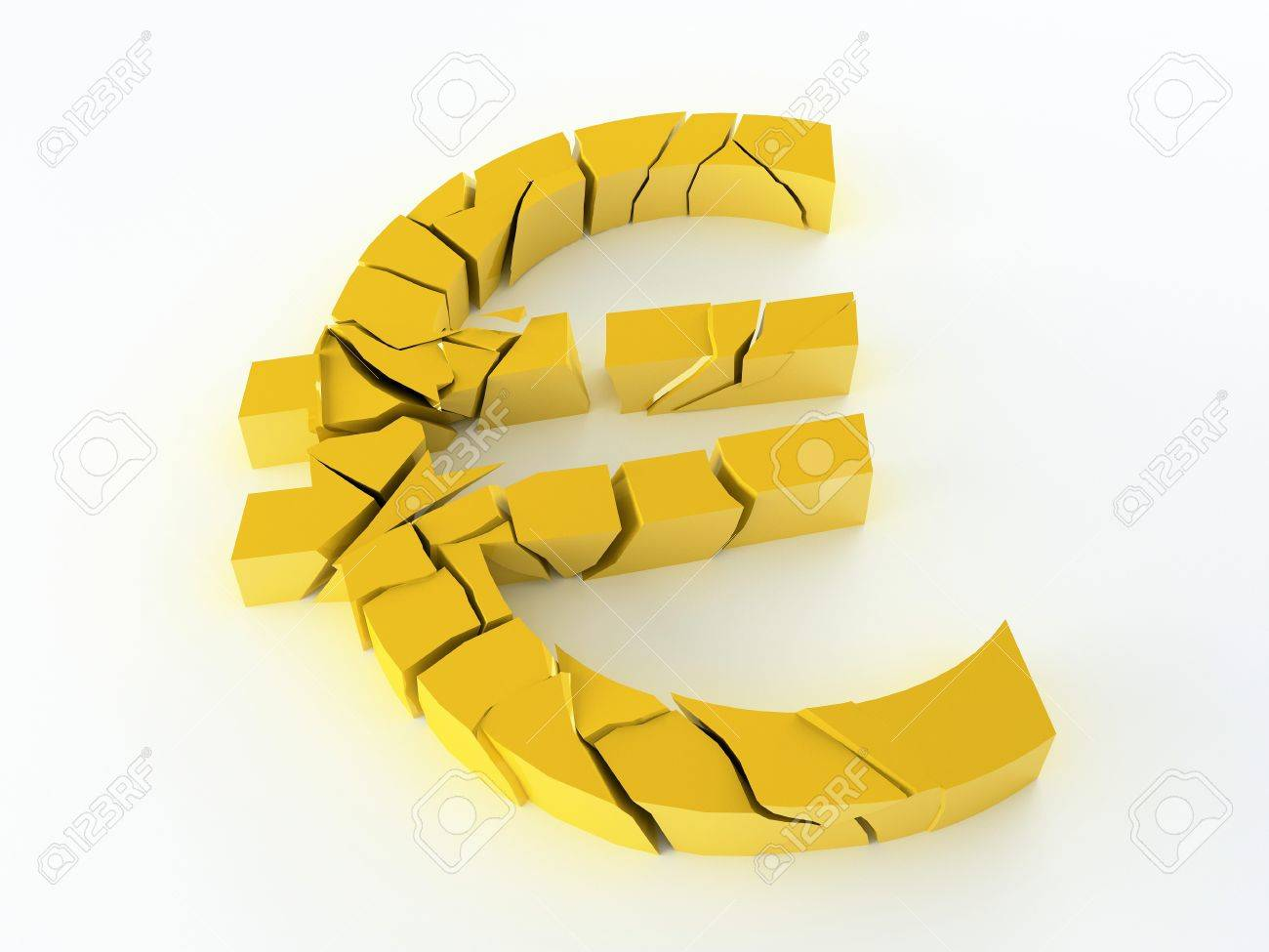 Euro currency symbol broken for the economic crisis Stock Photo - 12639452