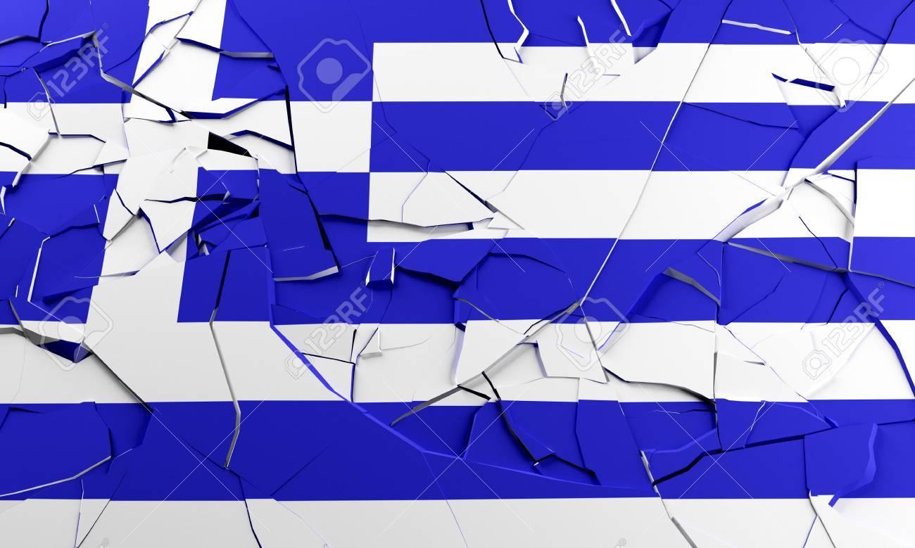 Greek flag broken for economic crisis concept Stock Photo - 12639453